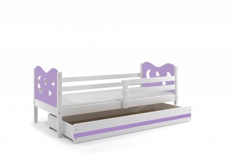 Kinderbett Stasy in Weiß mit Sternen und Bettkasten