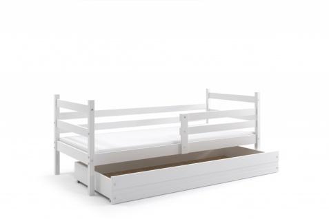 Kinderbett Dario in Weiß mit Bettkasten inkl. Lattenrost und Matratze