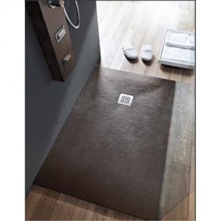 Bodenbündige Duschplatte aus Mineralguss mokka im Stein Design