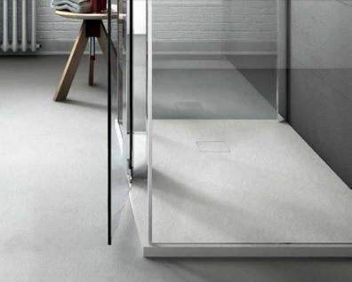 Bodenbündige Duschplatte aus Mineralguss weiß Ablauf in Wannenfarbe 90 + 100 cm breit