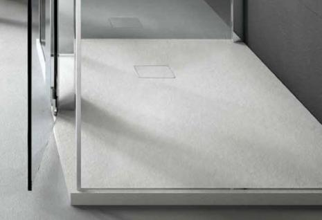 Bodenbündige Duschplatte aus Mineralguss anthrazit Ablauf in Wannenfarbe 90+100cm breite