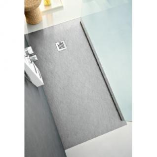 Bodenbündige Duschplatte aus Mineralguss grau im Stein Design