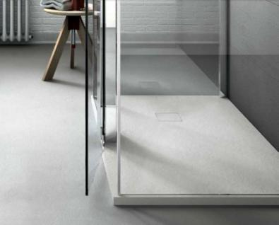Bodenbündige Duschplatte aus Mineralguss weiß Ablauf in Wannenfarbe 70 + 80 cm breit