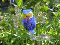 Eule blau - Orchideenstab - Rankhilfe