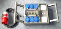 Mobiler Stromverteiler 32A CEE, 4x Schuko /Fi
