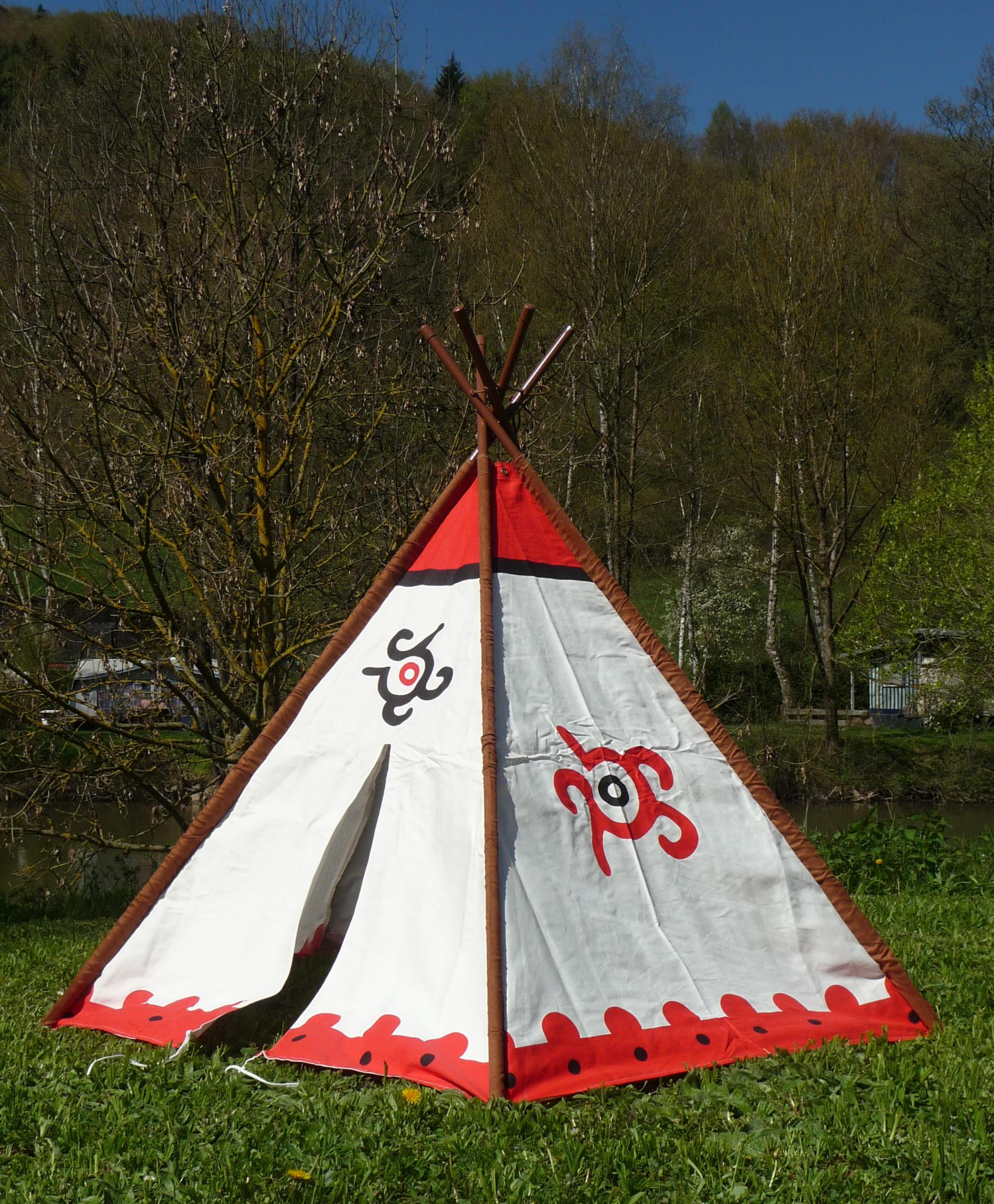 tipi wigwam indianerzelt mit aluminium stangen 183 x 137cm top qualit t kaufen bei wim shop. Black Bedroom Furniture Sets. Home Design Ideas