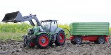 "RC FENDT Traktor + Kipp-Anhänger 52cm 8 FUNKTIONEN ""Ferngesteuert 27MHz"""