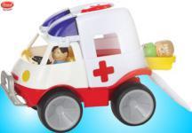 "GOWI Rotkreuz Auto Krankenwagen Sandkasten ""Gummibereifung"" Top Qualität"