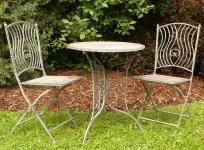 SCHMIEDE-EISEN / HOLZ Gartenmöbel SET Tisch + 2 Stühle in TOP QUALITÄT