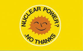 Flagge Fahne Atomkraft nein Danke! englisch
