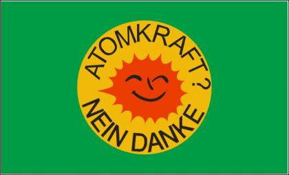 Flagge Fahne Atomkraft Nein Danke grün 90 x 150 cm