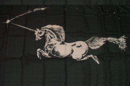 Flagge Fahne Einhorn schwarz 90 x 150 cm
