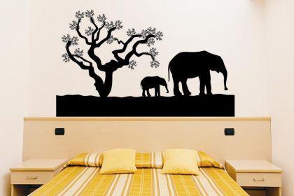 wandtattoo elefanten mit baum kaufen bei. Black Bedroom Furniture Sets. Home Design Ideas