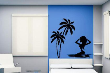 wandtattoo palms and girl kaufen bei. Black Bedroom Furniture Sets. Home Design Ideas