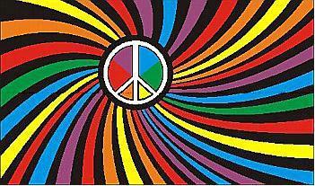 Flagge Fahne Peace bunt 90 x 150 cm