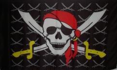 Flagge Fahne Pirat gelbe kleine Säbel 90 x 150 cm - Vorschau