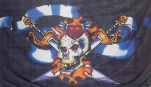 Flagge Fahne Pirat Schwert Flammen 90 x 150 cm