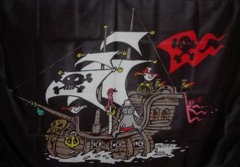 Flagge Fahne Piratenschiff schwarz 90 x 150 cm - Vorschau
