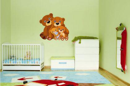 Wandtattoo Teddy Bär Familie - Vorschau