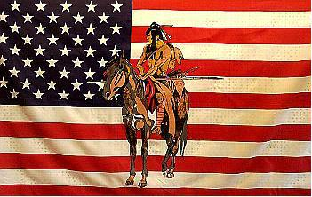 Flagge Fahne USA Indianer Pferd III 90 x 150 cm