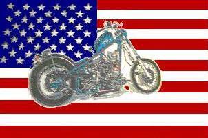 Flagge Fahne USA mit Motorrad 90 x 150 cm - Vorschau