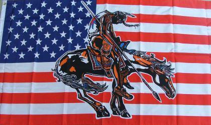 Flagge Fahne USA Indianer mit Pferd I 90 x 150 cm - Vorschau