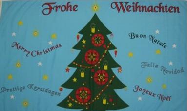 Flagge Fahne Frohe Weihnachten 6sprach 90 x 150 cm