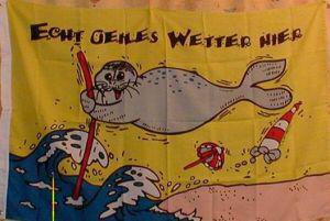 Flagge Fahne Echt geiles Wetter Robbe 90 x 150 cm - Vorschau