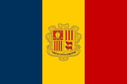 Flagge Fahne Andorra mit Wappen 90 x 150 cm - Vorschau