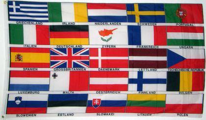Flagge Fahne Europa 25 Länder Schrift 90 x 150 cm - Vorschau