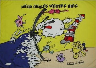 Flagge Fahne Mega geiles Wetter Schaf 90 x 150 cm - Vorschau