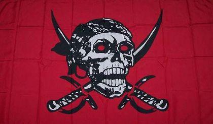 Flagge Fahne Pirat rot mit Säbel 90 x 150 cm