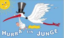 Flagge Fahne Hurra ein Junge 90 x 150 cm