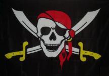 Flagge Fahne Pirat gelbe Säbel 90 x 150 cm