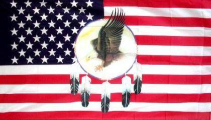 Flagge Fahne USA Traumfänger Adler 90 x 150 cm - Vorschau