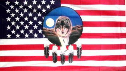 Flagge Fahne USA Traumfänger Wolf 90 x 150 cm - Vorschau