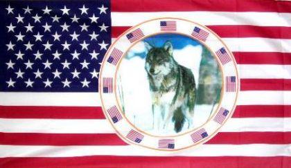 Flagge Fahne USA mir Wolf 90 x 150 cm - Vorschau
