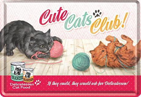 Blechpostkarte Cute Cats Club