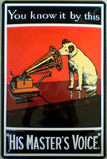 His Masters Voice rot Blechschild