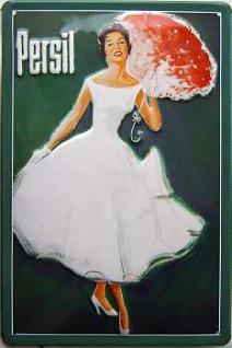 Persil Dame mit Schirm Blechschild
