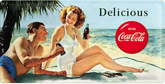 Coca-Cola - Beach Couple Blechschild - Vorschau