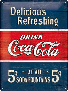 Coca-Cola - Delicious refreshing blue Blechschild, 30 x 40 cm