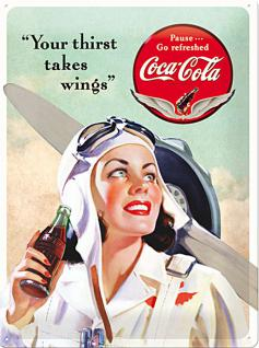 Coca-Cola - Takes Wings Lady Blechschild, 30 x 40 cm
