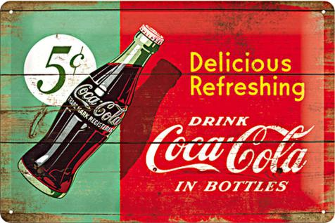 Coca-Cola - Delicious refreshing green Blechschild