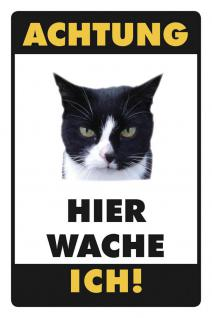 Hier wache ich - Katze schwarz Blechschild