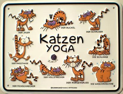 Fun-Schild Katzen Yoga - Vorschau
