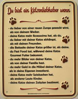 Fun-Schild Du bist ein Katzenliebhaber - Vorschau