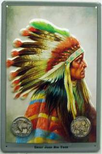 Indianer Chief John Big Tree Blechschild - Vorschau