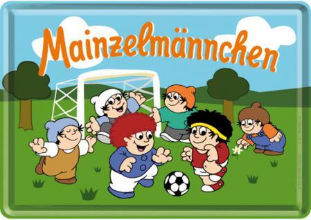 Blechpostkarte Mainzelmännchen Fussball - Vorschau