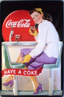 Coca Cola Diner Girl Blechschild